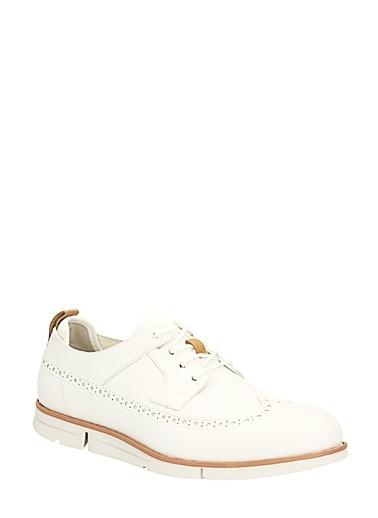 Clarks %100 Deri Oxford Ayakkabı Beyaz